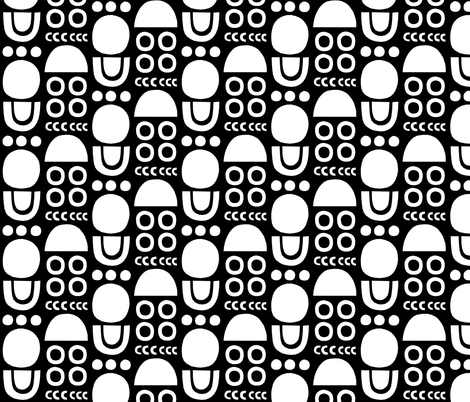 Mono Cutouts black background fabric by amywalters on Spoonflower - custom fabric
