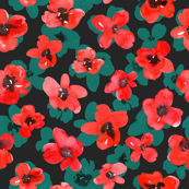 Watercolor red scarlet poppies on dark background