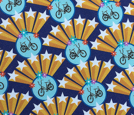 Superstar* (Jackie Blue) || 70s retro bicycle stars Art Deco starburst pop flowers circles geometric super gold