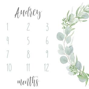 Audrey // Eucalyptus Leaves Baby Milestone Blanket