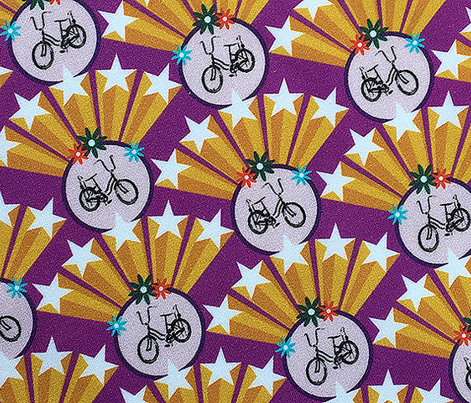 Superstar* (Vesuvius) || 70s retro bicycle stars Art Deco starburst pop flowers circles geometric super gold