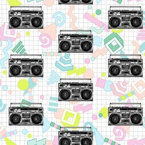 Boom Box (Pastel) || 80s 90s retro music rock and roll stereo radio cassettes cassette tape tapes breakdancing geometric Memphis pastel neon vintage analog