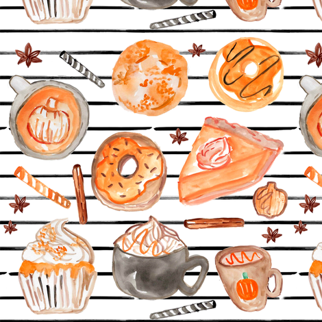 """7"""" Pumpkin Spice // Black and White Stripes fabric by hipkiddesigns on Spoonflower - custom fabric"""