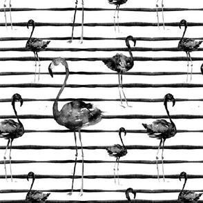 """6"""" Black and White Flamingos on Stripes"""
