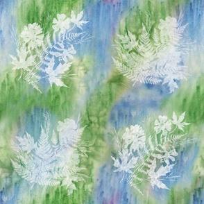 Cosmos, Fern, Maple Sunprints on Blue Green