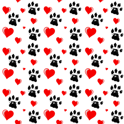 Paws_n_Hearts fabric by fabrique_dubois on Spoonflower - custom fabric