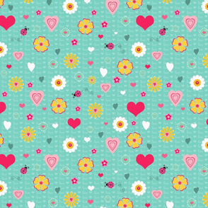 Hearts Love And Flowers
