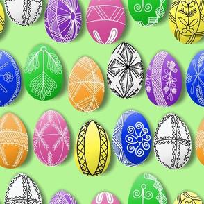 polish easter eggs on green pisanki