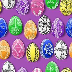 polish easter eggs on purple pisanki