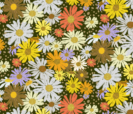 Dancing Daisies 2with Dard Ground-01 fabric by donaleekennedy on Spoonflower - custom fabric