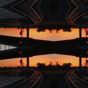 Train tracks at sunrise trippy