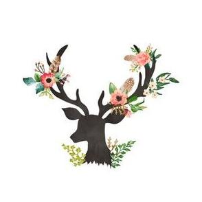 "6"" quilting block Floral Dreams Deer"