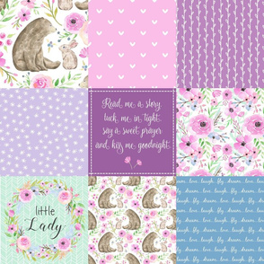 Little Lady Patchwork Quilt - Woodland Bear + Bunny Floral Pink, Lilac + Blue Wholecloth Best Friends 2 Coordinate for Girls GingerLous