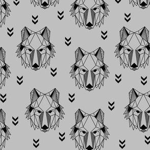 Geometric Wolf (gray) Geo Wolves Woodland Animals Baby Boy Nursery Bedding GingerLous