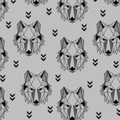 Geometric Wolf (grey) Geo Wolves Woodland Animals Baby Boy Nursery Bedding GingerLous