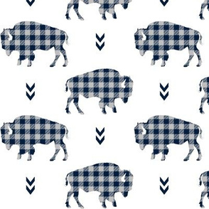 Bison - Buffalo Plaid Navy + Grey Tribal Baby Nursery Ginger