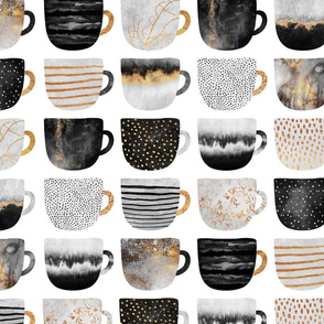 Pretty Coffee Cups - Grey - Medium