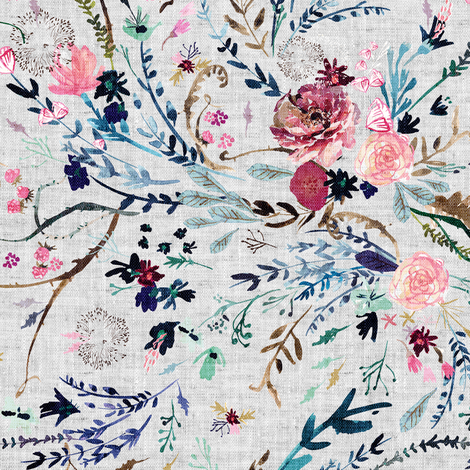 Fable floral (MED) (grey) fabric by nouveau_bohemian on Spoonflower - custom fabric