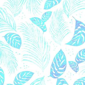 Windward Batik Turquoise on White 150