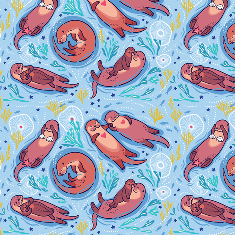 Otters in love fabric by penguinhouse on Spoonflower - custom fabric