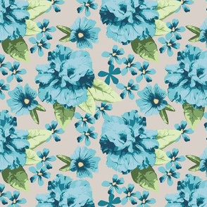 Teal Gray Hibiscus Rose Small