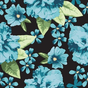 Turquoise Teal Black Hibiscus Rose Large