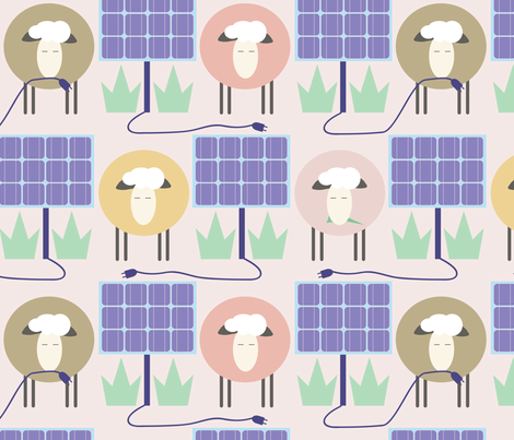 Off the Grid: Sheep mow between Solar Panels fabric by katie_hayes on Spoonflower - custom fabric
