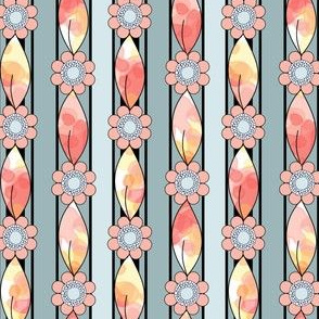 Border Stripes of Flowers and Leaves in Peach and Blue for Summer