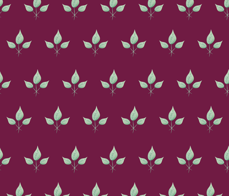 Watercolor Leaves - on Burgundy background fabric by lindsay_holman on Spoonflower - custom fabric