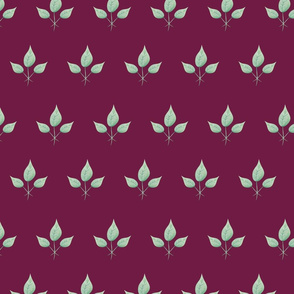 Watercolor Leaves - on Burgundy background