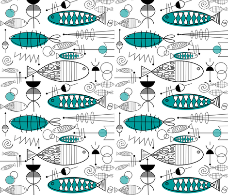 Mid-century Fish Art fabric by hot4tees_bg@yahoo_com on Spoonflower - custom fabric