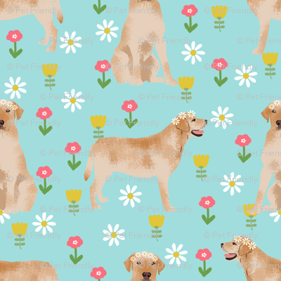 yellow labrador fabric - flower child hippie spring florals labrador fabric - blue