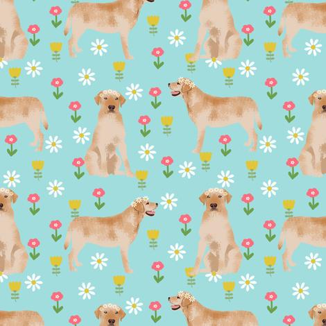 yellow labrador fabric - flower child hippie spring florals labrador fabric - blue fabric by petfriendly on Spoonflower - custom fabric