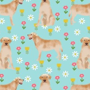 yellow labrador fabric - flower child hippie spring florals labrador fabric - blue