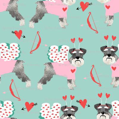 schnauzer love bug dog breed fabric mint