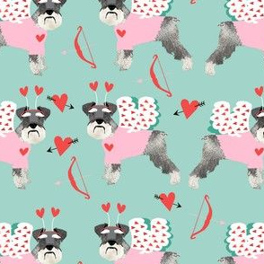 schnauzer love bug dog breed fabric mint