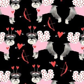 schnauzer love bug dog breed fabric black