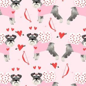schnauzer love bug dog breed fabric pink