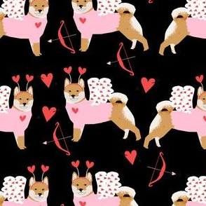 shiba inu love bug cupid dog breed fabric black