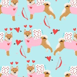 shiba inu love bug cupid dog breed fabric blue