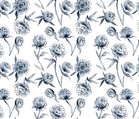 Blue Peonies fabric by rileysheehey on Spoonflower - custom fabric