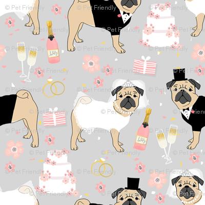 pug wedding fabric - cute dogs bride and groom design - grey