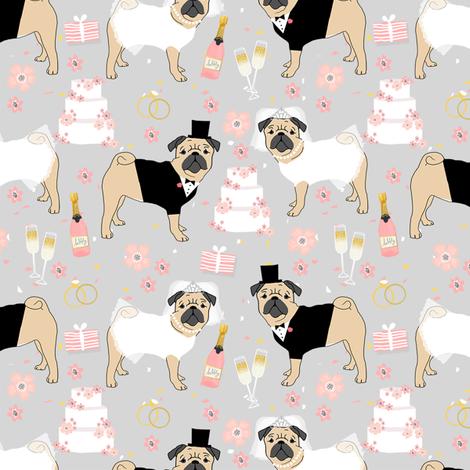 pug wedding fabric - cute dogs bride and groom design - grey fabric by petfriendly on Spoonflower - custom fabric