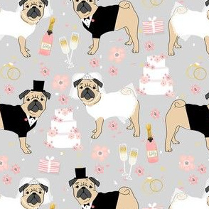 pug wedding fabric - cute dogs bride and groom design - grey
