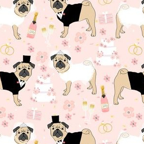pug wedding fabric - cute dogs bride and groom design - blush