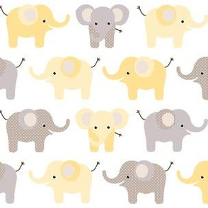 Happy elephants yellow