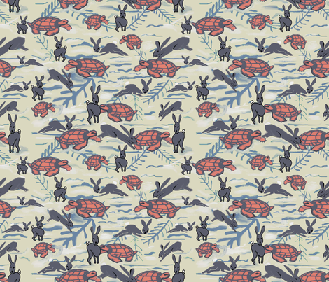 Tortoise and Hare Race Detailed fabric by lorloves_design on Spoonflower - custom fabric