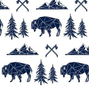 Bison - Navy Tribal Geometric Buffalo GingerLous