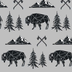 Bison - Tribal Geometric Buffalo (on grey) GingerLous