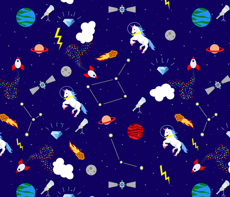 Space Unicorn Blue fabric by geekygamergirl on Spoonflower - custom fabric